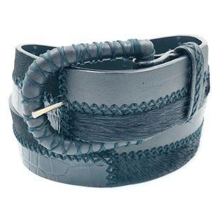 WCM New York Belt Leather Suede Leather Calf Hair